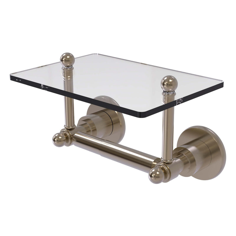 Astor Place Collection Two Post Toilet Tissue Holder with Glass Shelf