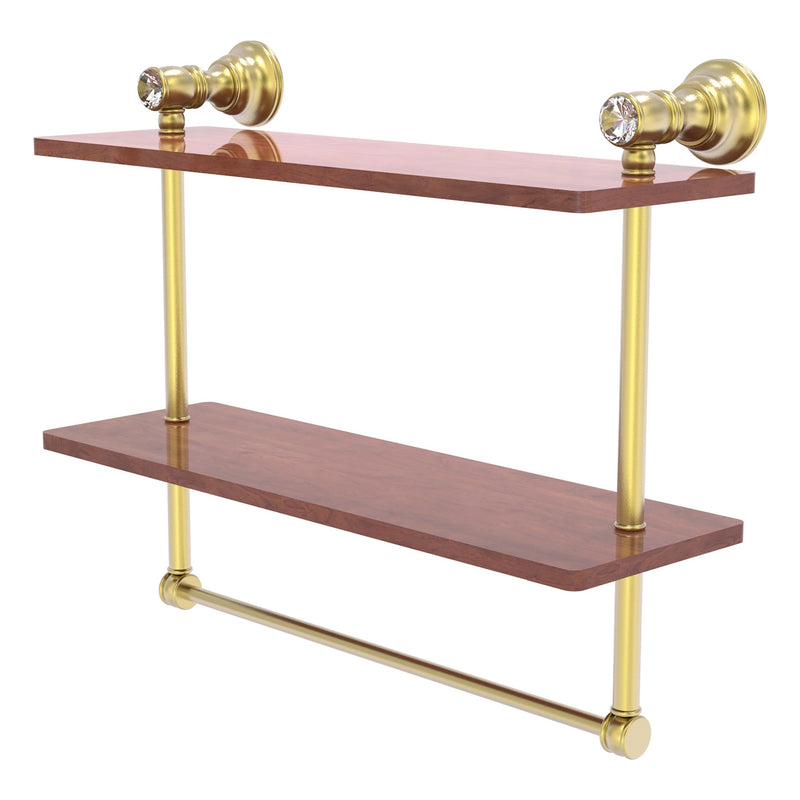 Carolina Crystal Collection Double Wood Shelf with Towel Bar
