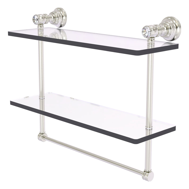 Carolina Crystal Collection Double Glass Shelf with Towel Bar