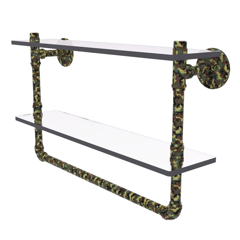 Camo Collection Double Glass Shelf with Towel Bar