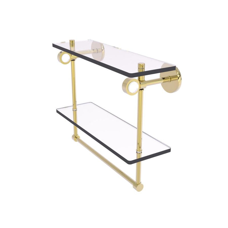 Clearview Collection Double Glass Vanity Shelf  with Integrated Towel Bar with Smooth Accents