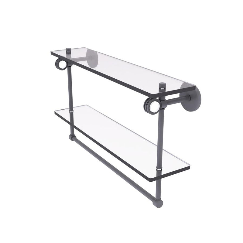 Clearview Collection Double Glass Vanity Shelf  with Integrated Towel Bar with Dotted Accents