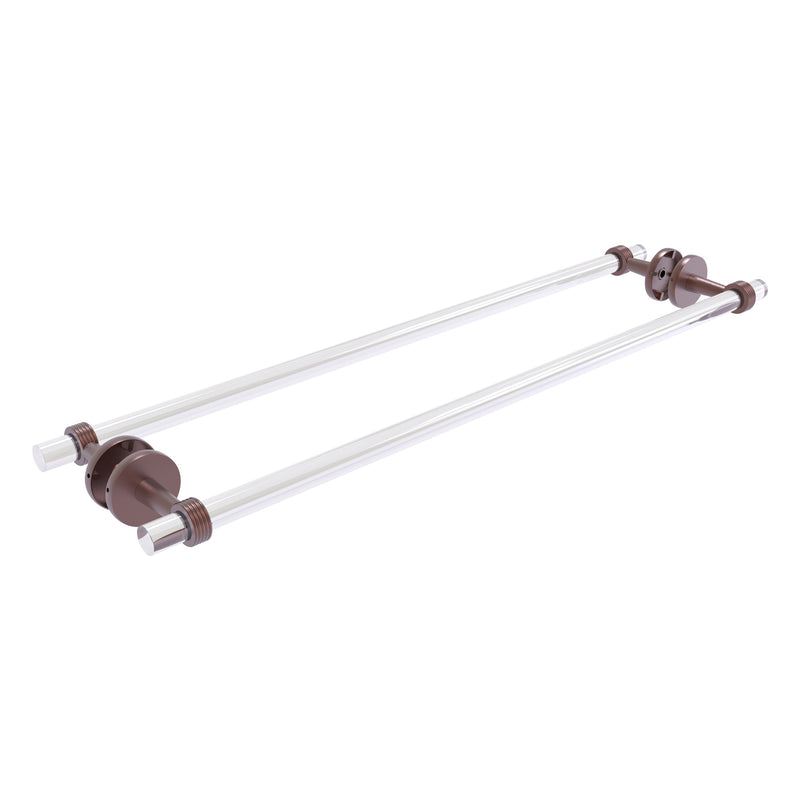 Clearview Collection Back to Back Shower Door Towel Bar with Grooved Accents