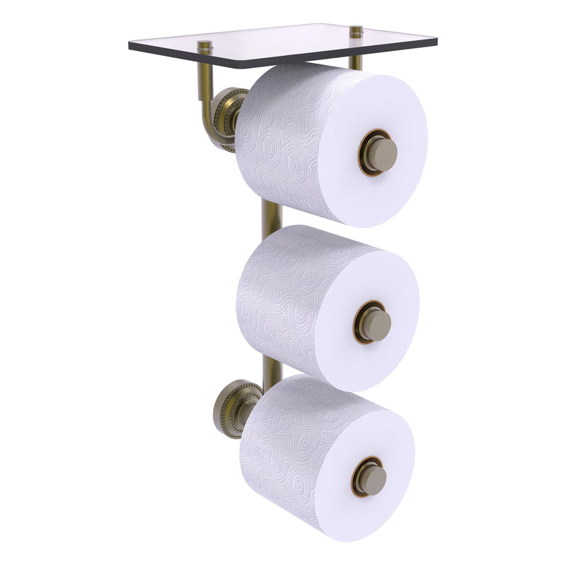 Dottingham Collection 3 Roll Toilet Paper Holder with Glass Shelf