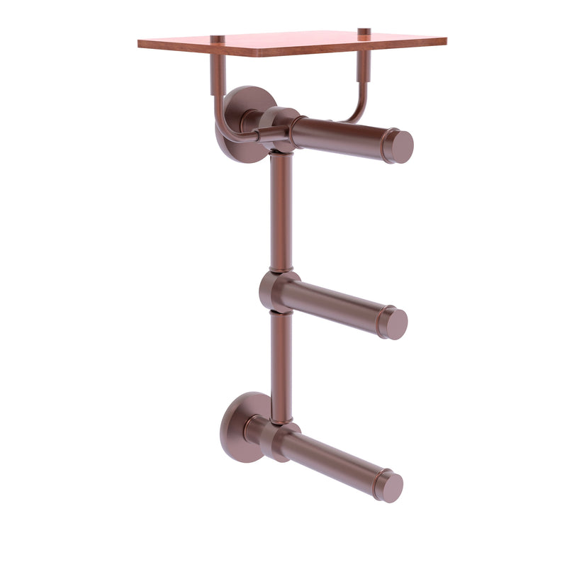 Prestige Skyline Collection 3 Roll Toilet Paper Holder with Wood Shelf