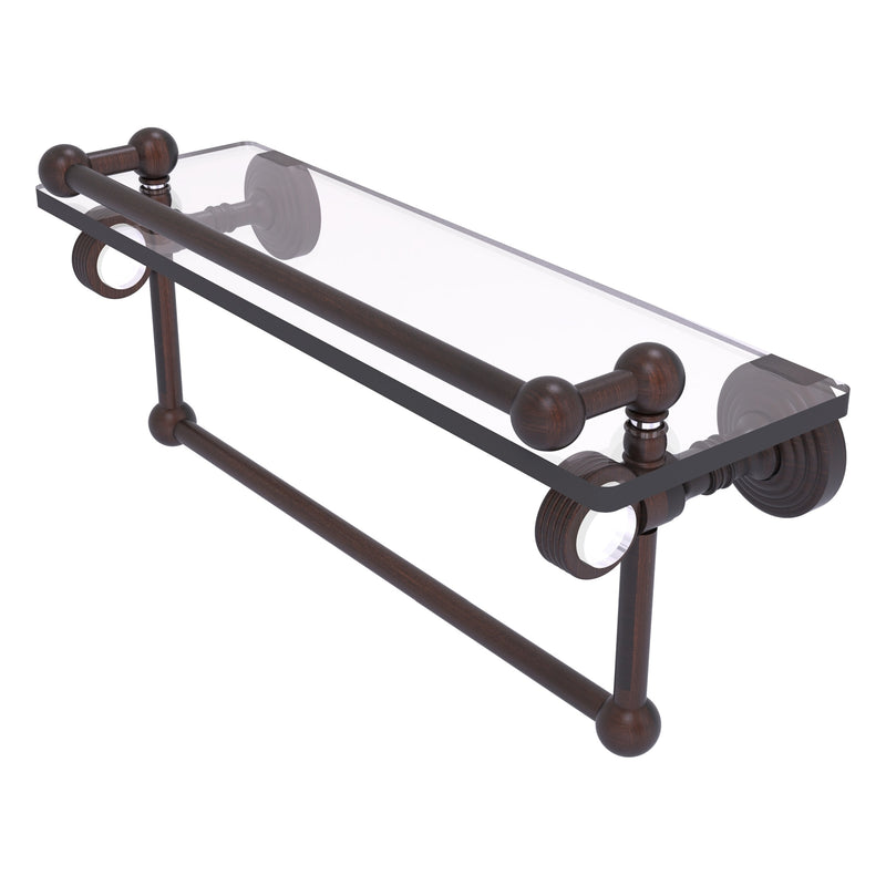 Pacific Grove Collection Glass Shelf with Gallery Rail and Towel Bar with Grooved Accents
