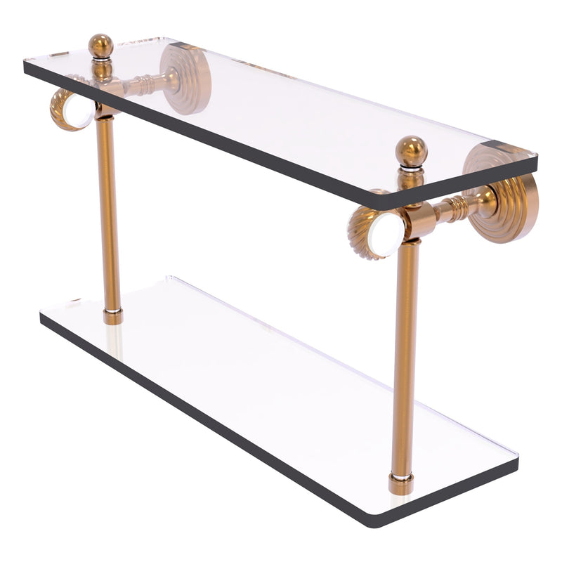 Pacific Grove Collection Two Tiered Glass Shelf with Twisted Accents