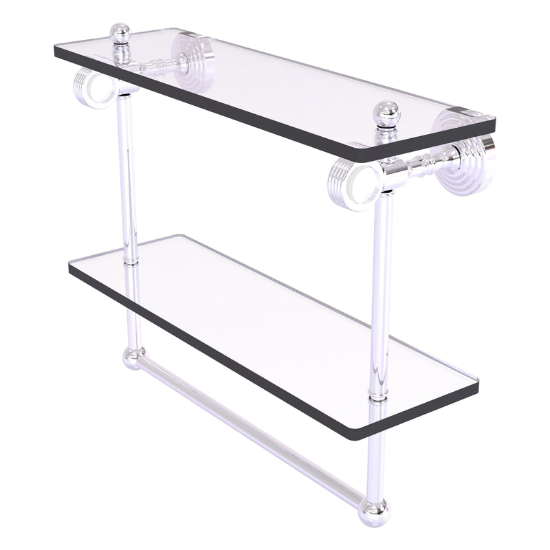 Pacific Grove Collection Double Glass Shelf  with Towel Bar with Grooved Accents