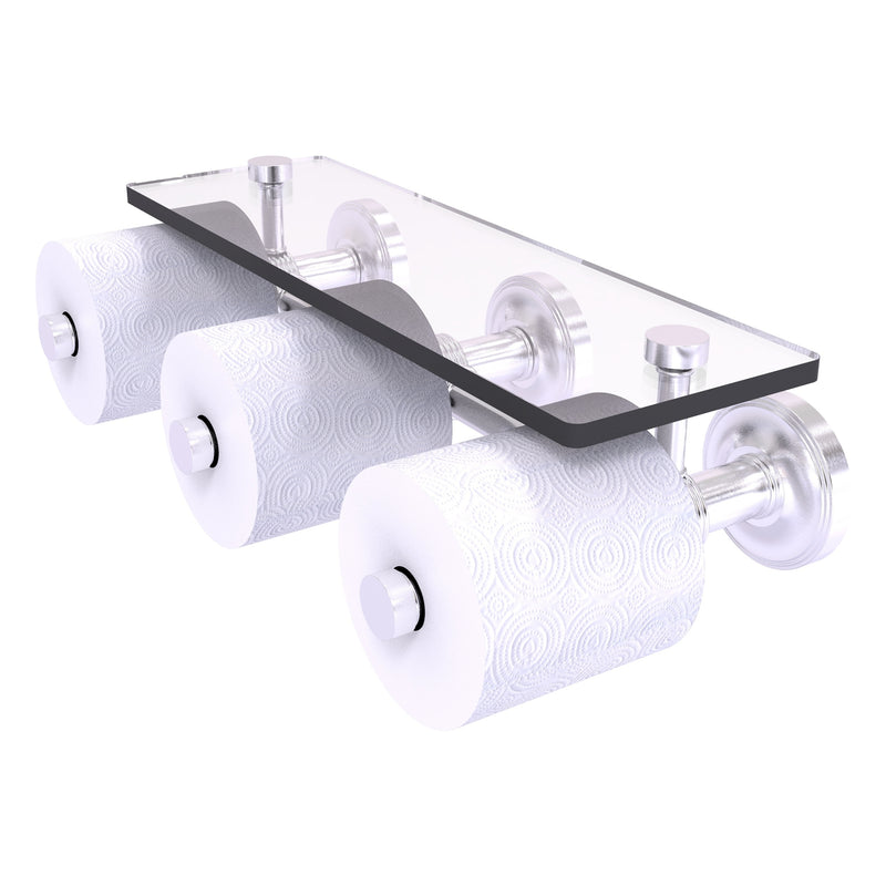 Prestige Regal Collection Horizontal Reserve 3 Roll Toilet Paper Holder with Glass Shelf