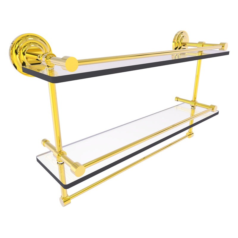 Que New Collection Gallery Rail Double Glass Shelf with Towel Bar