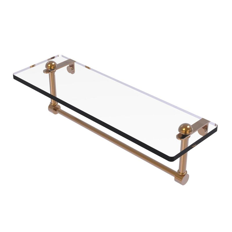 Glass Vanity Shelf with Integrated Towel Bar