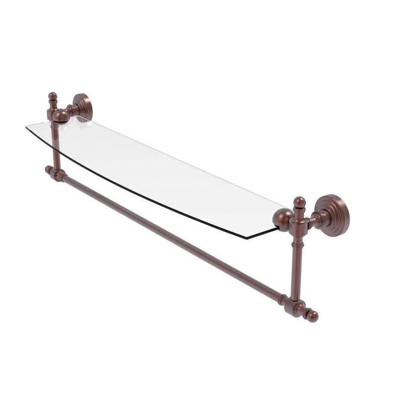 Retro Wave Collection Glass Vanity Shelf  with Integrated Towel Bar