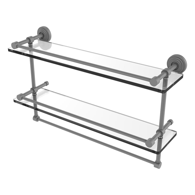 Waverly Place Collection Gallery Rail Double Glass Shelf with Towel Bar