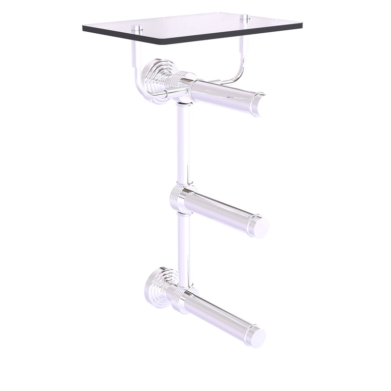 Waverly Place Collection 3 Roll Toilet Paper Holder with Glass Shelf