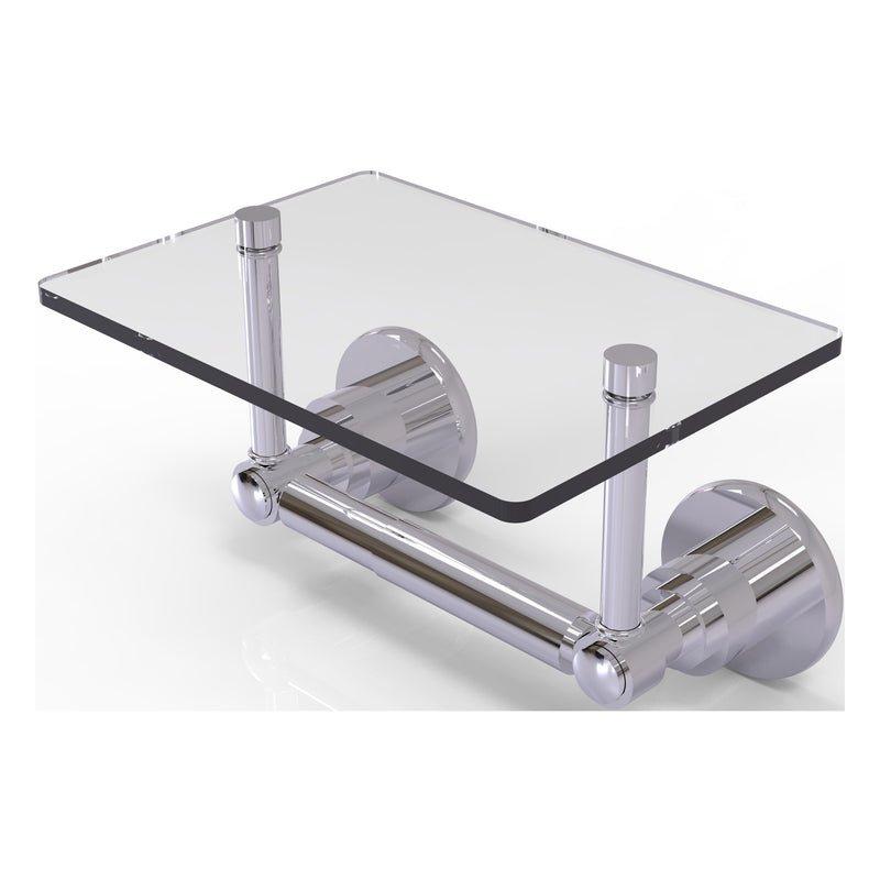 Washington Square Collection Two Post Toilet Tissue Holder with Glass Shelf