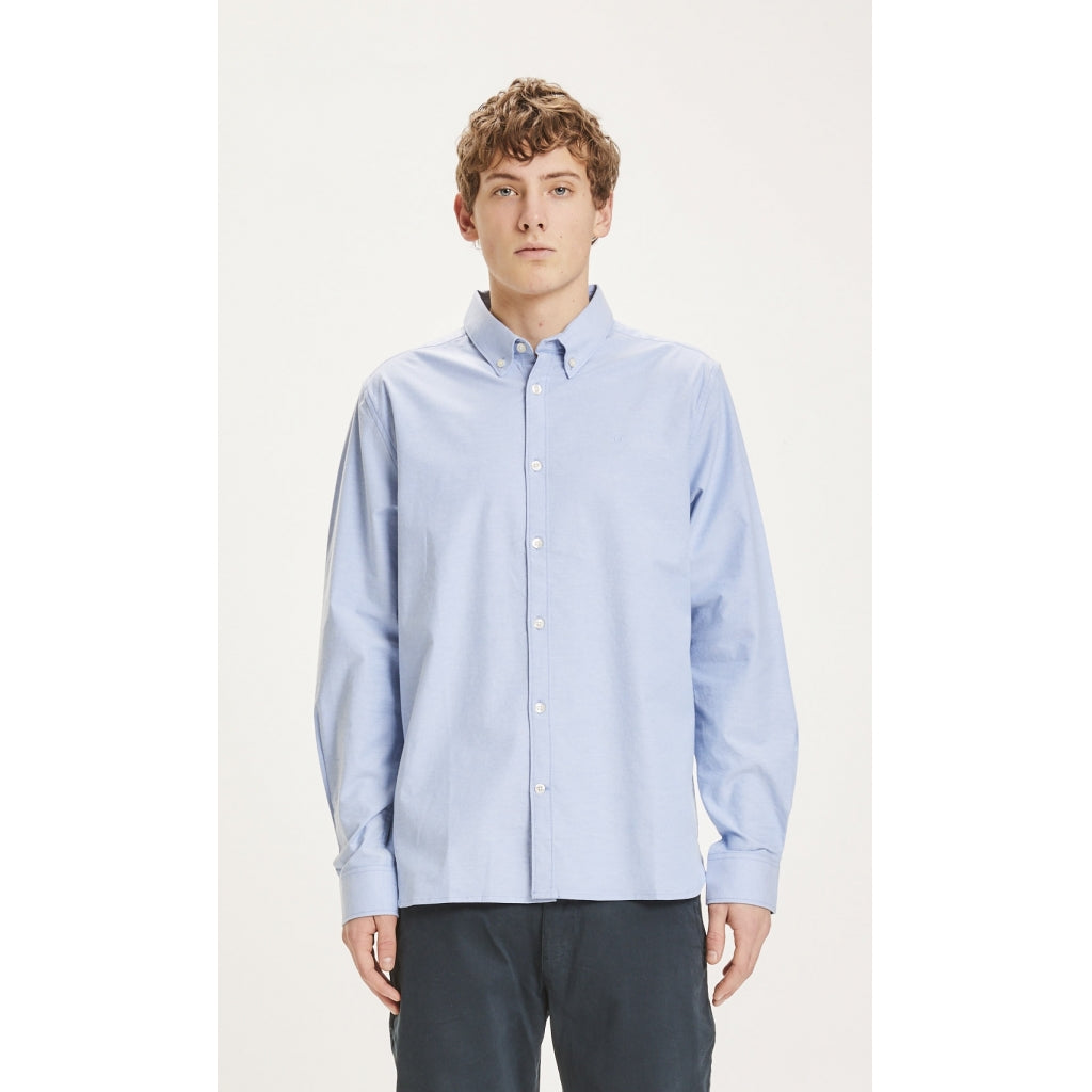 Knowledge Cotton Apparel - Elder Shirt Oxford Stretch Light Blue