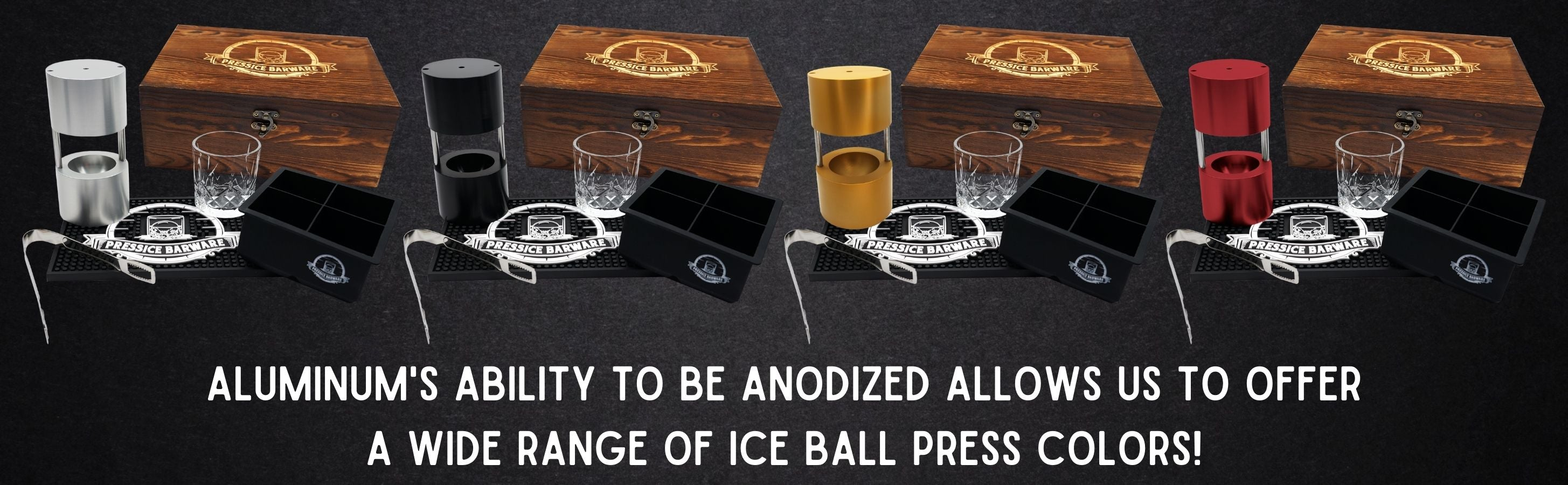 anodized aluminum makes the perfect ice ball press. available in a wide range of colors