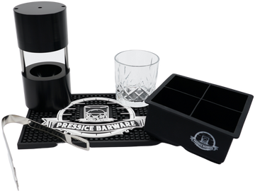 Pressice Barware Ice Ball Press Kit comes with anodized ice press, stainless steel tongs, whiskey glass, bar mat, wooden box, and ice mold