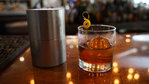 Clear Ice Press Old Fashioned in Gainesville Florida with V's Sidecar and Pressice Barware Ice ball press