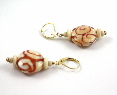 Ivory Lentils with Swirls Earrings