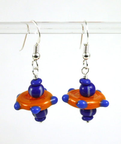 Blue Dotted Disk Earrings