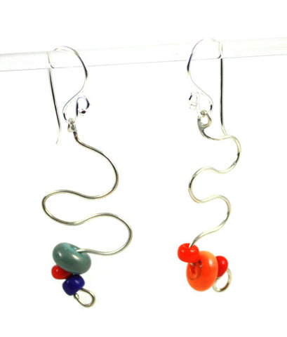 Silver Squiggles Earrings
