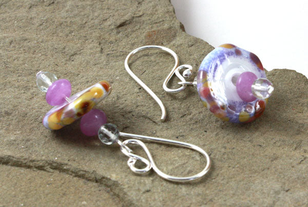 Rustic Amethyst Disk Earrings