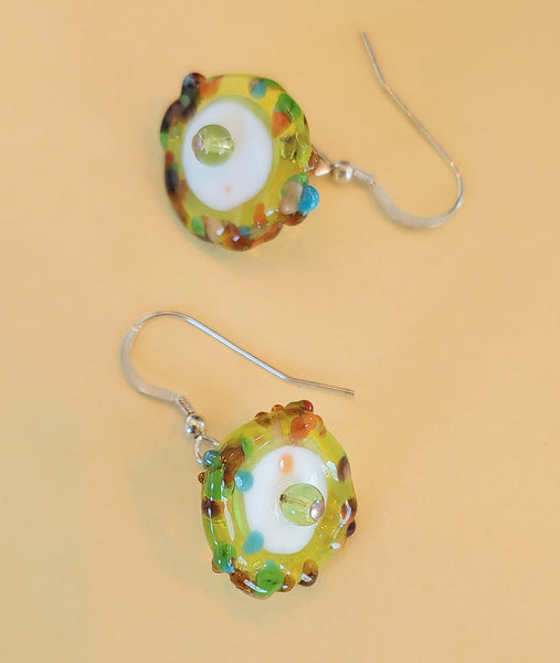 Green Edge Disk Earrings