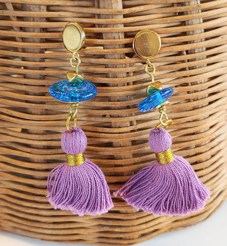 Blue with Purple Tassels  Earrings
