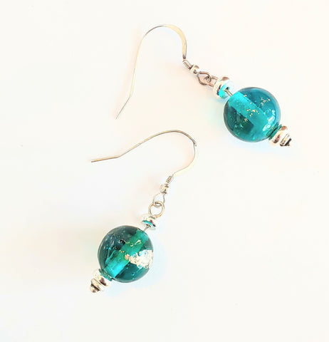 Teal Globe Earrings