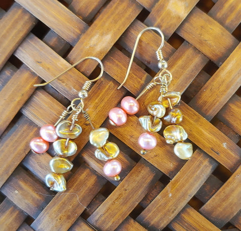 Golden Pearl Cluster Earrings