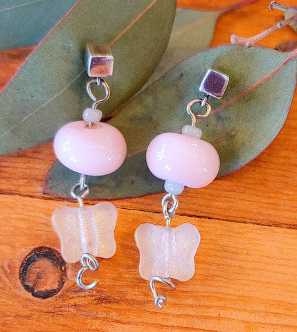 Rose Glass Butterfly Earrings