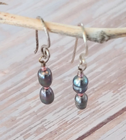 Stacked Grey Pearl Earrings