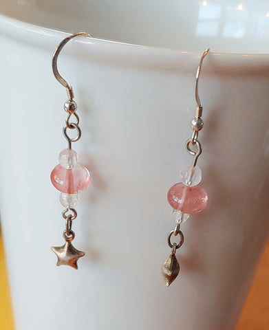 Rose Quartz & Stars Earrings