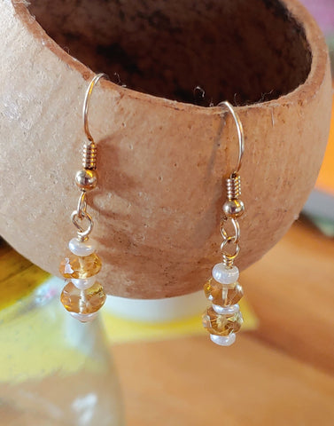Citrine & Pearls Earrings