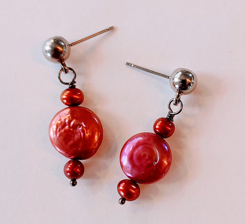 Pearls in Wine Earrings