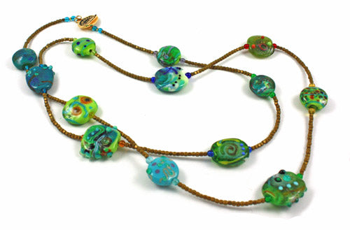 Abstract Green Long Necklace
