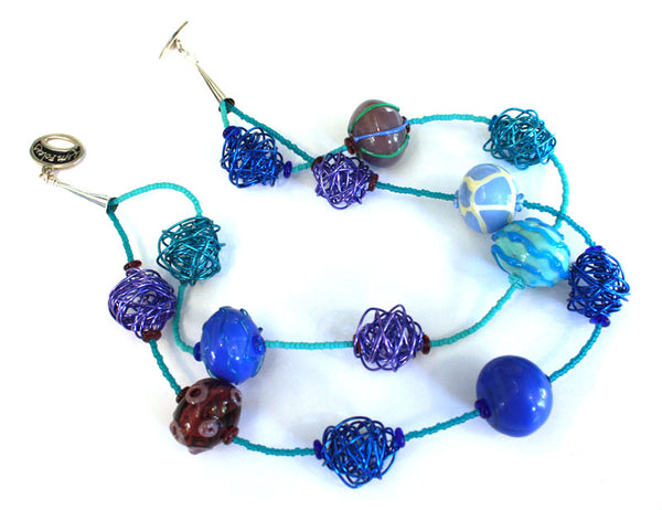 Bubbles 'n Wire in Blue Necklace