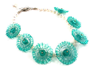 Blue Cactus Flower Necklace