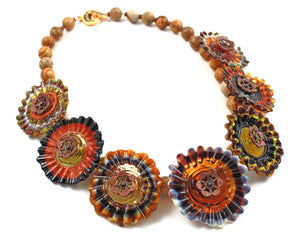 Brown Hills Flower Necklace