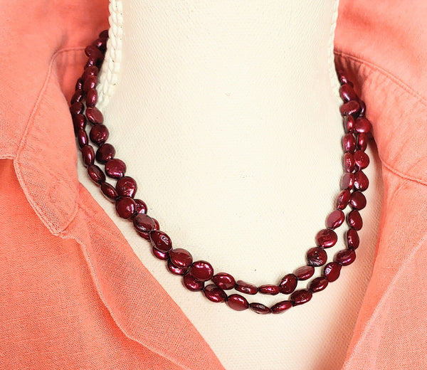 Wine Pearls Necklace