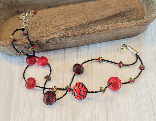 Red Bubbles Necklace