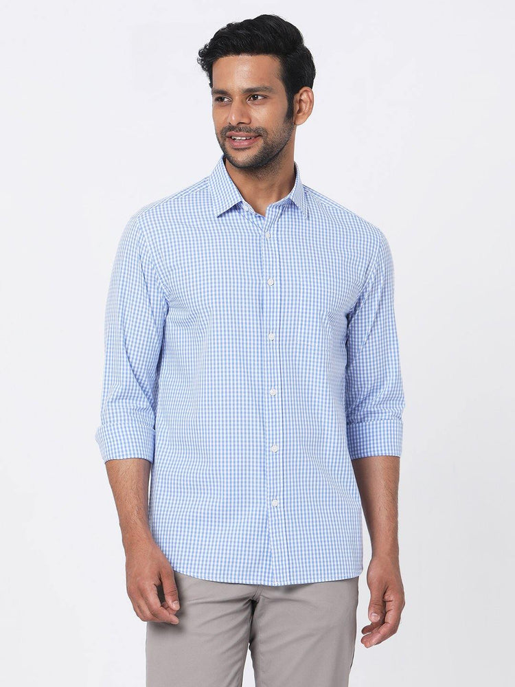 Poplin Blue Gingham Checks