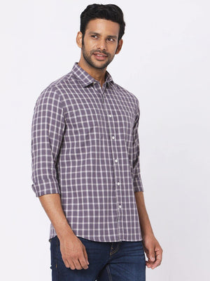 Load image into Gallery viewer, Men's Grey Twill Tarton Checks Twin Pocket Shirt