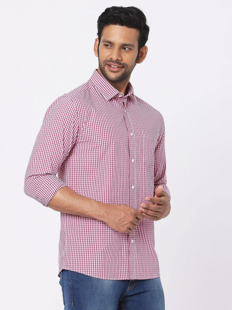 Load image into Gallery viewer, Men's Poplin Red Gingham Checks Shirt