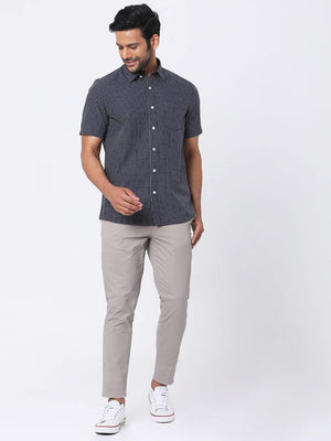 Load image into Gallery viewer, Men's Poplin Navy Checks Half Sleeves Shirt