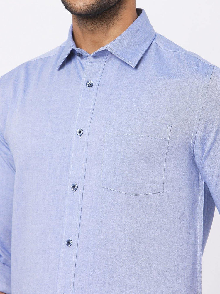 Load image into Gallery viewer, Men's Blue Oxford Chambray Shirt