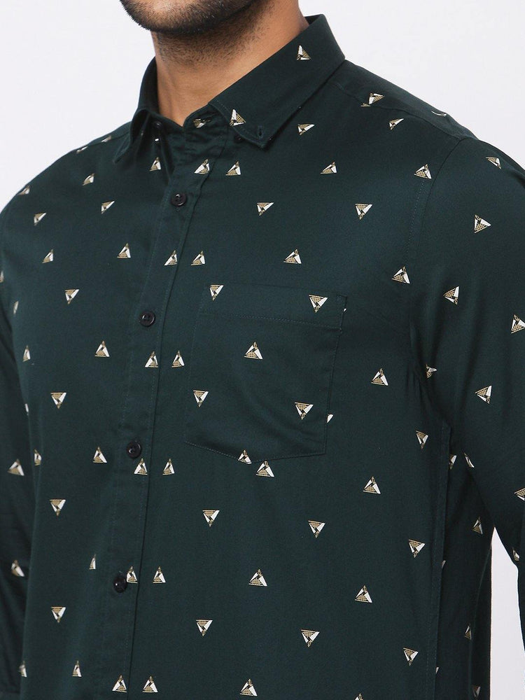 Men's Green Pyramid Print Shirt