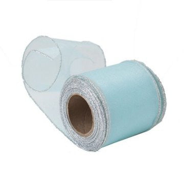 Sheer Aqua Blue Organza Ribbon with Silver Wired Edge