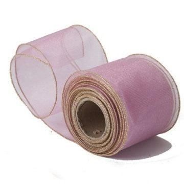 Sheer Rose Pink Organza Ribbon with Gold Wired Edge